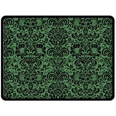 Damask2 Black Marble & Green Denim Fleece Blanket (large)