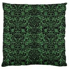 Damask2 Black Marble & Green Denim Large Flano Cushion Case (one Side) by trendistuff