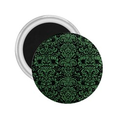 Damask2 Black Marble & Green Denim (r) 2 25  Magnets by trendistuff