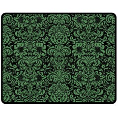 Damask2 Black Marble & Green Denim (r) Double Sided Fleece Blanket (medium)  by trendistuff