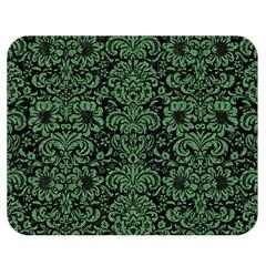 Damask2 Black Marble & Green Denim (r) Double Sided Flano Blanket (medium)  by trendistuff