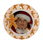 Gingerbread Man Christmas Holiday-ornament (round)