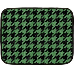 Houndstooth1 Black Marble & Green Denim Fleece Blanket (mini) by trendistuff