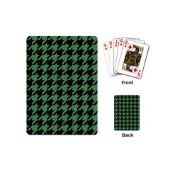 Houndstooth1 Black Marble & Green Denim Playing Cards (mini)  by trendistuff