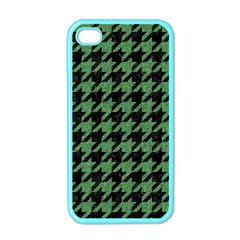 Houndstooth1 Black Marble & Green Denim Apple Iphone 4 Case (color) by trendistuff