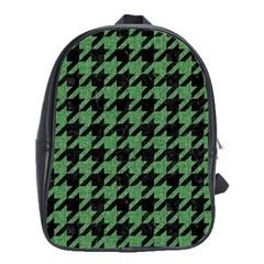 Houndstooth1 Black Marble & Green Denim School Bag (xl) by trendistuff