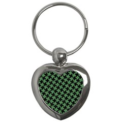Houndstooth2 Black Marble & Green Denim Key Chains (heart)  by trendistuff