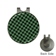 Houndstooth2 Black Marble & Green Denim Hat Clips With Golf Markers by trendistuff