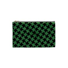 Houndstooth2 Black Marble & Green Denim Cosmetic Bag (small)