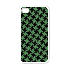 Houndstooth2 Black Marble & Green Denim Apple Iphone 4 Case (white) by trendistuff