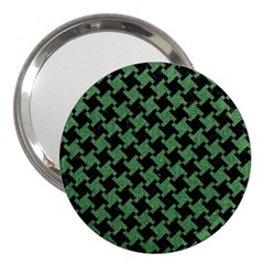 Houndstooth2 Black Marble & Green Denim 3  Handbag Mirrors by trendistuff