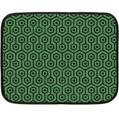 Hexagon1 Black Marble & Green Denim Fleece Blanket (mini) by trendistuff