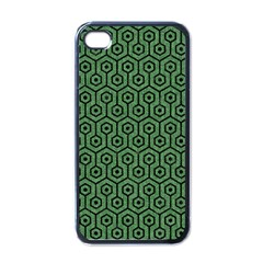 Hexagon1 Black Marble & Green Denim Apple Iphone 4 Case (black) by trendistuff
