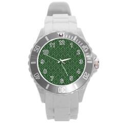 Hexagon1 Black Marble & Green Denim Round Plastic Sport Watch (l) by trendistuff