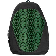 Hexagon1 Black Marble & Green Denim Backpack Bag by trendistuff