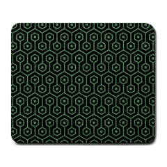 Hexagon1 Black Marble & Green Denim (r) Large Mousepads by trendistuff
