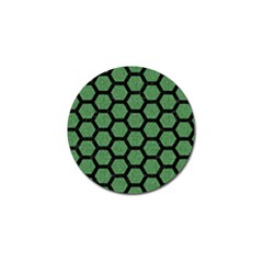 Hexagon2 Black Marble & Green Denim Golf Ball Marker by trendistuff