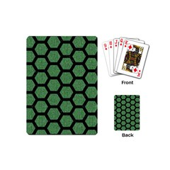 Hexagon2 Black Marble & Green Denim Playing Cards (mini)  by trendistuff