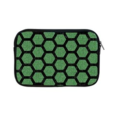 Hexagon2 Black Marble & Green Denim Apple Ipad Mini Zipper Cases by trendistuff