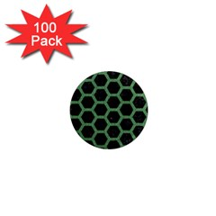 Hexagon2 Black Marble & Green Denim (r) 1  Mini Magnets (100 Pack)  by trendistuff