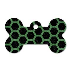 Hexagon2 Black Marble & Green Denim (r) Dog Tag Bone (one Side) by trendistuff