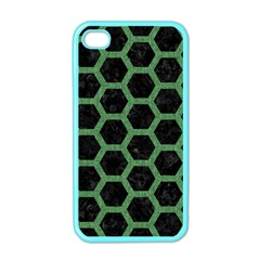 Hexagon2 Black Marble & Green Denim (r) Apple Iphone 4 Case (color) by trendistuff