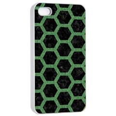 Hexagon2 Black Marble & Green Denim (r) Apple Iphone 4/4s Seamless Case (white) by trendistuff