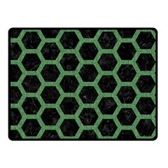 Hexagon2 Black Marble & Green Denim (r) Double Sided Fleece Blanket (small)  by trendistuff