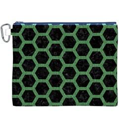 Hexagon2 Black Marble & Green Denim (r) Canvas Cosmetic Bag (xxxl) by trendistuff
