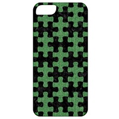 Puzzle1 Black Marble & Green Denim Apple Iphone 5 Classic Hardshell Case by trendistuff