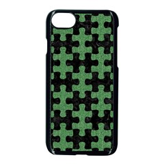 Puzzle1 Black Marble & Green Denim Apple Iphone 8 Seamless Case (black)