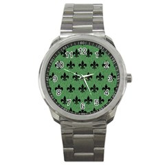 Royal1 Black Marble & Green Denim (r) Sport Metal Watch by trendistuff