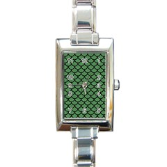 Scales1 Black Marble & Green Denim Rectangle Italian Charm Watch