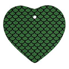 Scales1 Black Marble & Green Denim Ornament (heart)