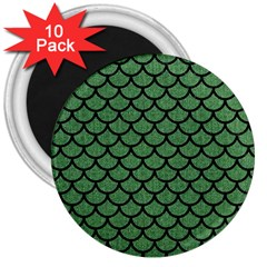 Scales1 Black Marble & Green Denim 3  Magnets (10 Pack)  by trendistuff