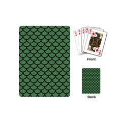 Scales1 Black Marble & Green Denim Playing Cards (mini)  by trendistuff