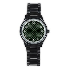 Scales1 Black Marble & Green Denim (r) Stainless Steel Round Watch by trendistuff