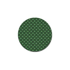 Scales2 Black Marble & Green Denim Golf Ball Marker by trendistuff