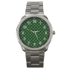 Scales2 Black Marble & Green Denim Sport Metal Watch by trendistuff