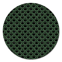 Scales2 Black Marble & Green Denim (r) Magnet 5  (round) by trendistuff