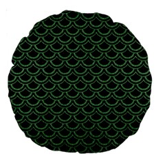 Scales2 Black Marble & Green Denim (r) Large 18  Premium Round Cushions by trendistuff