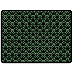 Scales2 Black Marble & Green Denim (r) Double Sided Fleece Blanket (large)  by trendistuff