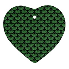 Scales3 Black Marble & Green Denim Heart Ornament (two Sides) by trendistuff