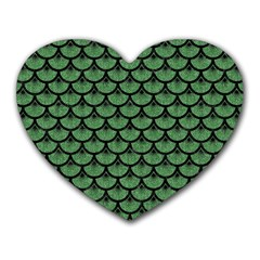 Scales3 Black Marble & Green Denim Heart Mousepads by trendistuff
