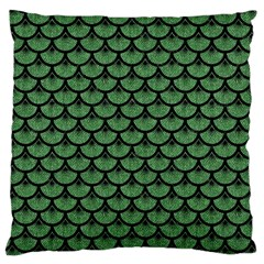 Scales3 Black Marble & Green Denim Large Cushion Case (one Side) by trendistuff
