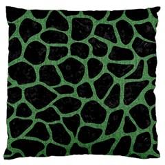 Skin1 Black Marble & Green Denim Large Flano Cushion Case (one Side) by trendistuff