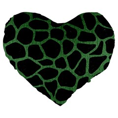 Skin1 Black Marble & Green Denim Large 19  Premium Flano Heart Shape Cushions by trendistuff