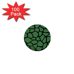 Skin1 Black Marble & Green Denim (r) 1  Mini Buttons (100 Pack)  by trendistuff