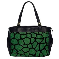 Skin1 Black Marble & Green Denim (r) Office Handbags by trendistuff