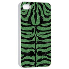 Skin2 Black Marble & Green Denim Apple Iphone 4/4s Seamless Case (white) by trendistuff